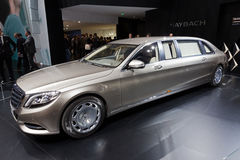 Mercedes-Maybach S 600 Pullman limo car. GENEVA, SWITZERLAND - MARCH 3, 2015: Mercedes-Maybach S 600 Pullman limousine car released at the 85th International Stock Images