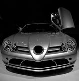 Mercedes McLaren SLR. Mercedes SLR with one door opened - front view stock images