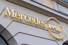 Mercedes Me logo on Mercedes Me`s shop stock photography