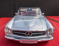 Mercedes Pagode 280SL - Concept Cars and Automobile Design Exhib. PARIS, FRANCE - FEBRUARY 04, 2018: The traditional Mercedes Pagode 280SL is shown at the Royalty Free Stock Photo