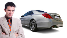 Car Business. Business man with Mercedes S class car back view. Car sales and rental business concept Stock Photography