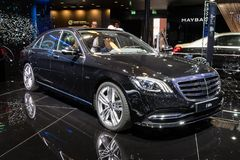 Mercedes S 560e plug-in hybrid limo car. PARIS - OCT 2, 2018: Mercedes Benz S 560e plug-in hybrid limo car showcased at the Paris Motor Show royalty free stock photo