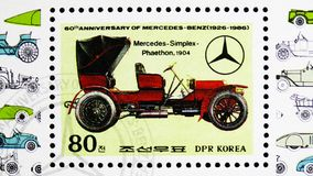 Mercedes, Simplex Phaeton, 1904, 60th Anniversary of Mercedes-Benz serie, circa 1986. MOSCOW, RUSSIA - MARCH 23, 2019: Postage stamp printed in Korea shows royalty free stock photo