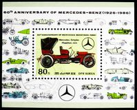 Mercedes, Simplex Phaeton, 1904, 60th Anniversary of Mercedes-Benz serie, circa 1986. MOSCOW, RUSSIA - MARCH 23, 2019: Postage stamp printed in Korea shows royalty free stock image