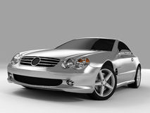Mercedes SL 500. Realistic render three-dimensional model of the silvery Mercedes SL 500 Stock Images