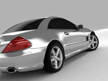 Mercedes SL 500. Realistic render three-dimensional model of the silvery Mercedes SL 500 Royalty Free Stock Photos