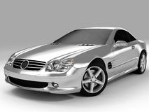 Mercedes SL 500. Realistic render three-dimensional model of the silvery Mercedes SL 500 Royalty Free Stock Photo