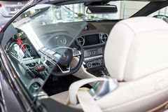 Mercedes SL63 AMG cabrio in the car showroom Stock Photography