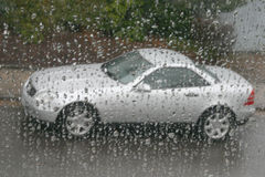 Mercedes slk under rain Stock Photo