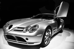 Mercedes SLR. One door opened - 3/4 view - AMI Leipzig 2006 - no trademarks stock photos