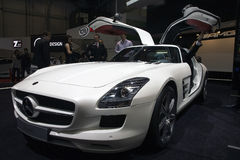 Mercedes SLS AMG. With wing doors at the 80th edition of the Geneva motor show in Switzerland Stock Photography