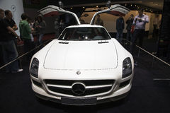 Mercedes SLS AMG. With wing doors at the 80th edition of the Geneva motor show in Switzerland Stock Image