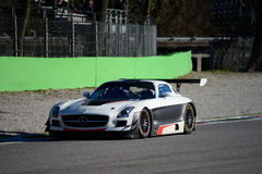Mercedes SLS AMG Blancpain Series 2015. Team Black Falcon Mercedes SLS AMG out of the first chicane of Monza circuit during a preseason testing day, Blancpain Royalty Free Stock Photo
