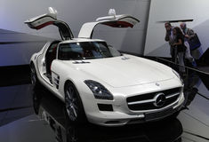 Mercedes SLS AMG at Paris Motor Show. PARIS - OCTOBER 11: Mercedes SLS AMG handcrafted vehicle at the Paris Motor Show 2010 at Porte de Versailles, on October 11 Stock Photos