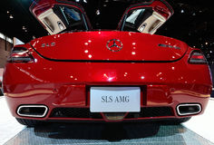 Mercedes SLS AMG sports car. Mercedes SLS AMG sorts car with doors swung open at Chicago Auto Show 2011 Royalty Free Stock Images