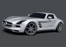 Mercedes SLS AMG sports car. 3d rendering of very powerful looking mercedes sls amg sports car.It is on  background so you can use it to mix it with your own Royalty Free Stock Photography