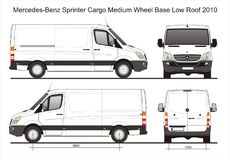 Mercedes Sprinter Cargo Delivery MWB Low Roof Van 2010 Blueprint. Mercedes Sprinter Cargo Delivery MWB Low Roof Van 2010 Scale 1:10 detailed template in AI royalty free illustration