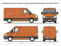 Mercedes Sprinter Cargo Delivery SWB Low Roof Van 2010 Blueprint. Mercedes Sprinter Cargo Delivery SWB Low Roof Van 2010 Scale 1:10 detailed template in AI Stock Photos
