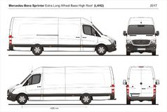Mercedes Sprinter Extra LWB High Roof Cargo Van L4H2 2017 stock illustration
