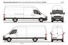 Mercedes Sprinter Extra LWB Super High Roof Cargo Van L4H3 2017. Mercedes Sprinter Extra LWB Super High Roof Cargo Delivery Van L4H3 2017 detailed template AI Stock Photos