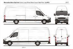 Mercedes Sprinter Extra LWB Super Hoge Roof Cargo Van L4H3 2017 Stock Foto's