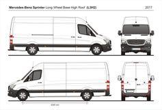 Mercedes Sprinter LWB Telhado alto Carga Van L3H2 2017 ilustração royalty free