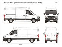 Mercedes Sprinter MWB haut Roof Cargo Van L2H2 2017 illustration de vecteur