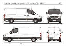Mercedes Sprinter MWB Lage Roof Cargo Van L2H1 2017 Royalty-vrije Stock Afbeeldingen
