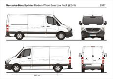 Mercedes Sprinter MWB Low Roof Cargo Van L2H1 2017 stock illustration