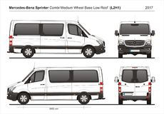 Mercedes Sprinter MWB Low Roof Combi Van L2H1 2017. Mercedes Sprinter MWB Low Roof Passenger Van L2H1 2017 detailed template AI Format for design and production Royalty Free Stock Photos
