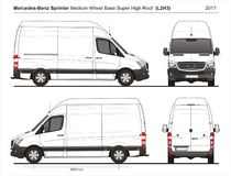 Mercedes Sprinter MWB Super High Roof Cargo Van L2H3 2017 vector illustration
