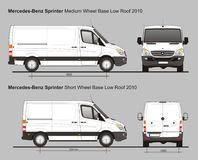 Mercedes Sprinter MWB and SWB Low Roof Delivery Van 2010. Scale 1:10 detailed template in AI Format Royalty Free Stock Images