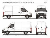 Mercedes Sprinter MWB Telhado alto Carga Van L2H2 2017 ilustração do vetor