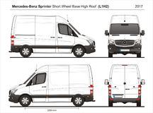 Mercedes Sprinter SWB High Roof Cargo Van L1H2 2017. Mercedes Sprinter SWB High Roof Cargo Delivery Van L1H2 2017 detailed template AI Format for design and Stock Image