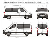 Mercedes Sprinter SWB High Roof Combi Van L1H2 2017 stock illustration
