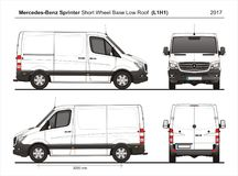 Mercedes Sprinter SWB Low Roof Cargo Van L1H1 2017 royalty free illustration