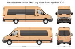Mercedes Sprinter Van Extra Long WB 2010 vector illustration