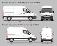 Mercedes Sprinter Van MWB en SWB Stock Foto's