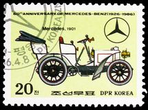 Mercedes, 1901, 60th Anniversary of Mercedes-Benz serie, circa 1986. MOSCOW, RUSSIA - MARCH 23, 2019: Postage stamp printed in Korea shows Mercedes, 1901, 60th stock photos