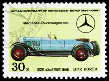 Mercedes Tourenwagen, 1914, 60th Anniversary of Mercedes-Benz serie, circa 1986. MOSCOW, RUSSIA - MARCH 23, 2019: Postage stamp printed in Korea shows Mercedes stock images