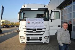 Mercedes Trucks at Transemex 's park at October 14, 2013 in Dunaharaszti, Hungary Royalty Free Stock Photo