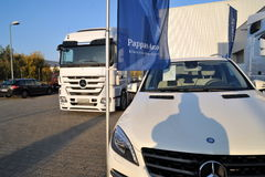Mercedes Trucks at Transemex 's park at October 14, 2013 in Dunaharaszti, Hungary Royalty Free Stock Images