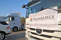 Mercedes Trucks at Transemex 's park at October 14, 2013 in Dunaharaszti, Hungary Stock Image
