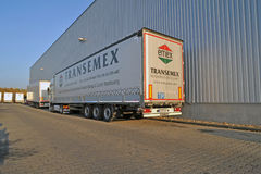 Mercedes Trucks at Transemex 's park at October 14, 2013 in Dunaharaszti, Hungary Stock Photo