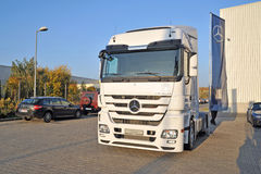 Mercedes Trucks at Transemex 's park at October 14, 2013 in Dunaharaszti, Hungary Royalty Free Stock Image