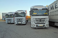 Mercedes Trucks at Transemex 's park at October 14, 2013 in Dunaharaszti, Hungary Royalty Free Stock Photography
