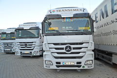 Mercedes Trucks at Transemex 's park at October 14, 2013 in Dunaharaszti, Hungary Stock Images