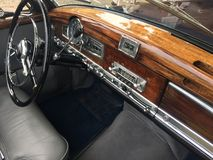 Mercedes vintage car, interior. Berlin, Germany - May 13, 2017: Mercedes vintage car, interior. Mercedes Benz is a German global automobile manufacturer known Royalty Free Stock Images