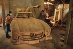 Mercedez gullwing replica. Clasic car mercedez gullwing replica makes from jati wood as handmade from artist on Kemiri, Mojosongo, Boyolali Royalty Free Stock Image