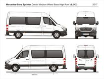 Mercedez szybkobiegacza MWB wysokości dach Combi Van L2H2 2017 Royalty Ilustracja
